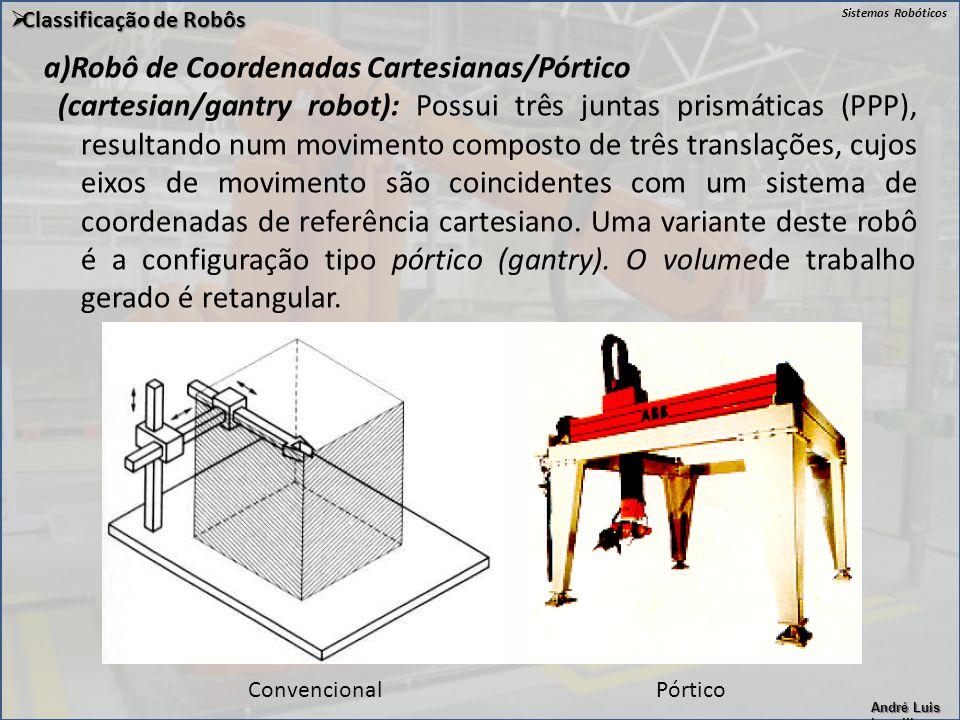 a)Robô de Coordenadas Cartesianas/Pórtico