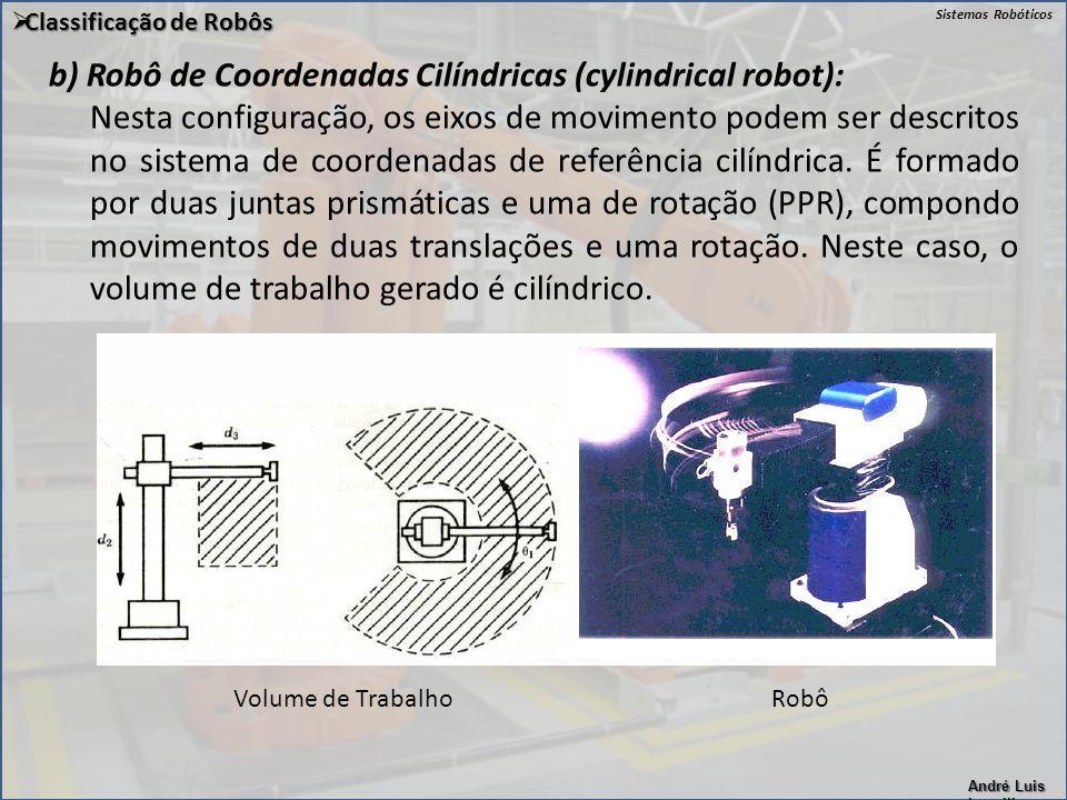 b) Robô de Coordenadas Cilíndricas (cylindrical robot):