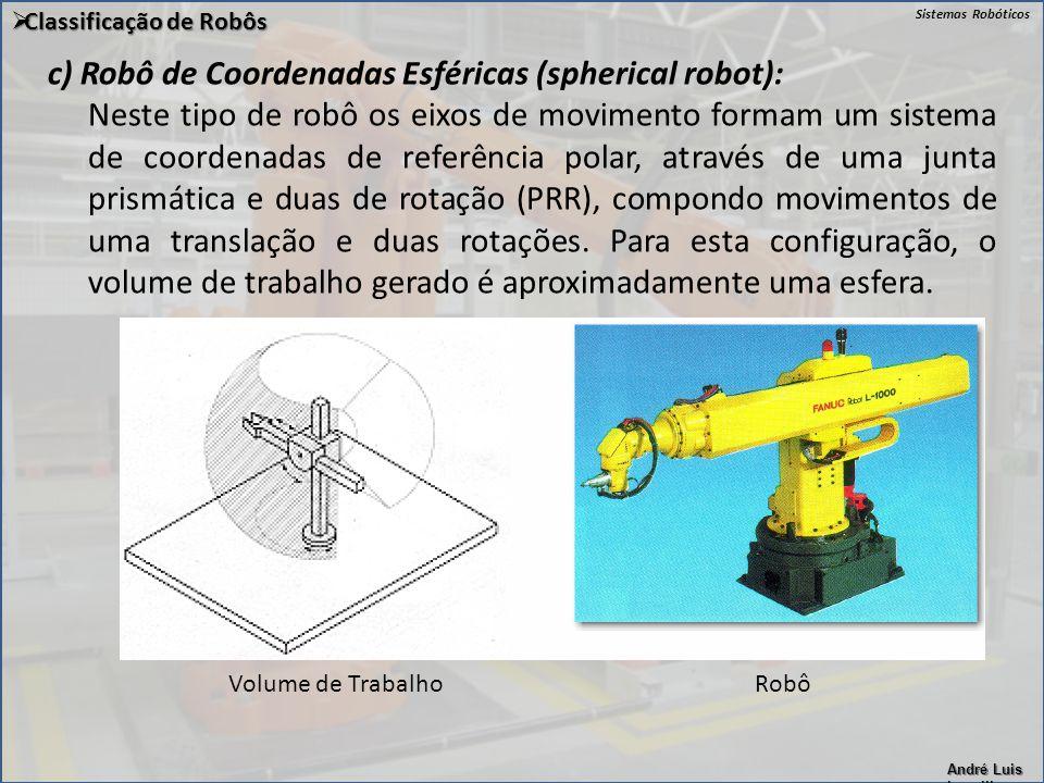 c) Robô de Coordenadas Esféricas (spherical robot):