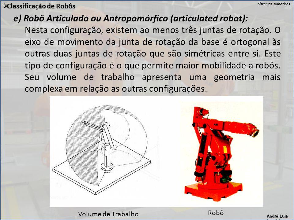 e) Robô Articulado ou Antropomórfico (articulated robot):