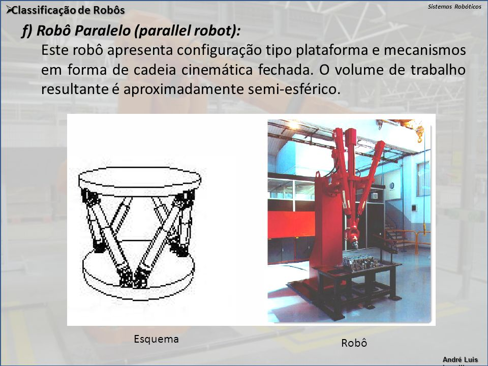 f) Robô Paralelo (parallel robot):