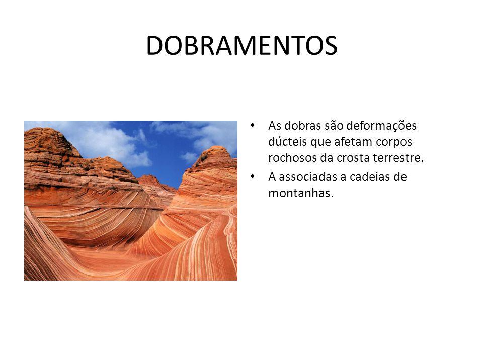 DOBRAMENTOS As dobras são deformações dúcteis que afetam corpos rochosos da crosta terrestre.