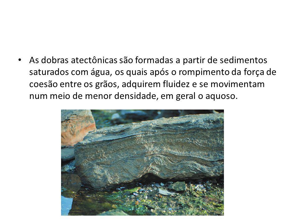 As dobras atectônicas são formadas a partir de sedimentos saturados com água, os quais após o rompimento da força de coesão entre os grãos, adquirem fluidez e se movimentam num meio de menor densidade, em geral o aquoso.