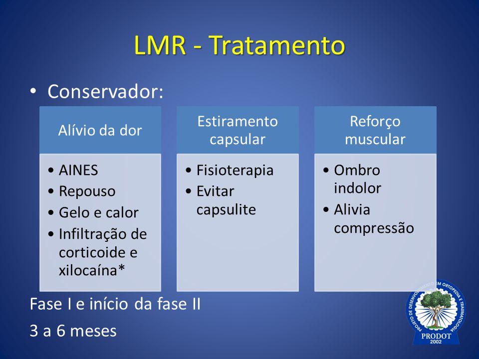 LMR - Tratamento Conservador: Fase I e início da fase II 3 a 6 meses