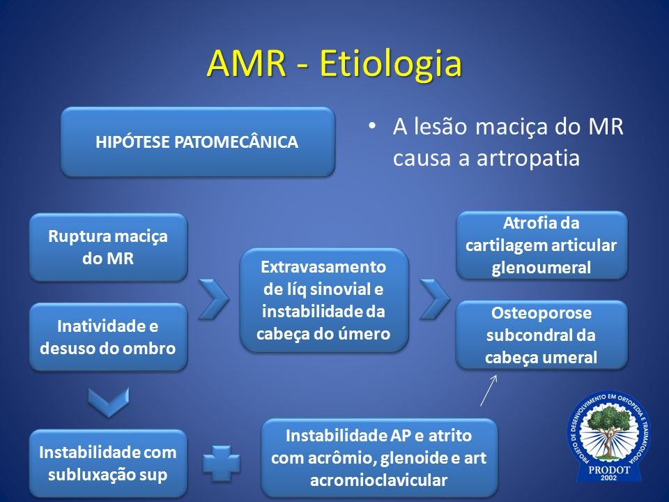 AMR - Etiologia A lesão maciça do MR causa a artropatia