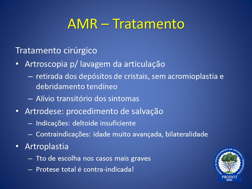 AMR – Tratamento Tratamento cirúrgico