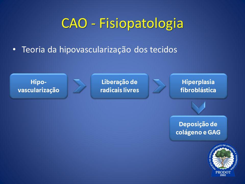 CAO - Fisiopatologia Teoria da hipovascularização dos tecidos