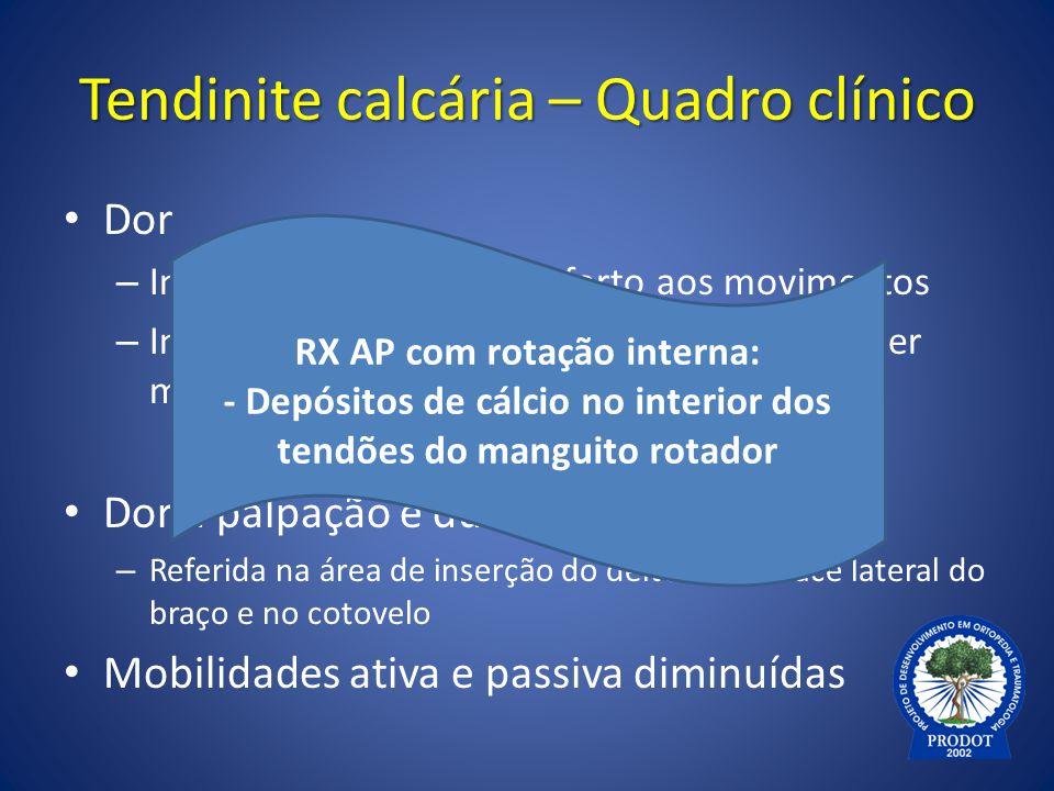 Tendinite calcária – Quadro clínico