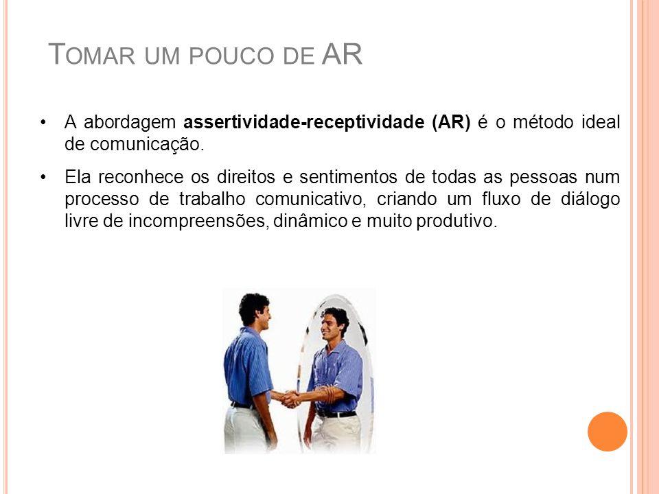 Tomar um pouco de AR A abordagem assertividade-receptividade (AR) é o método ideal de comunicação.