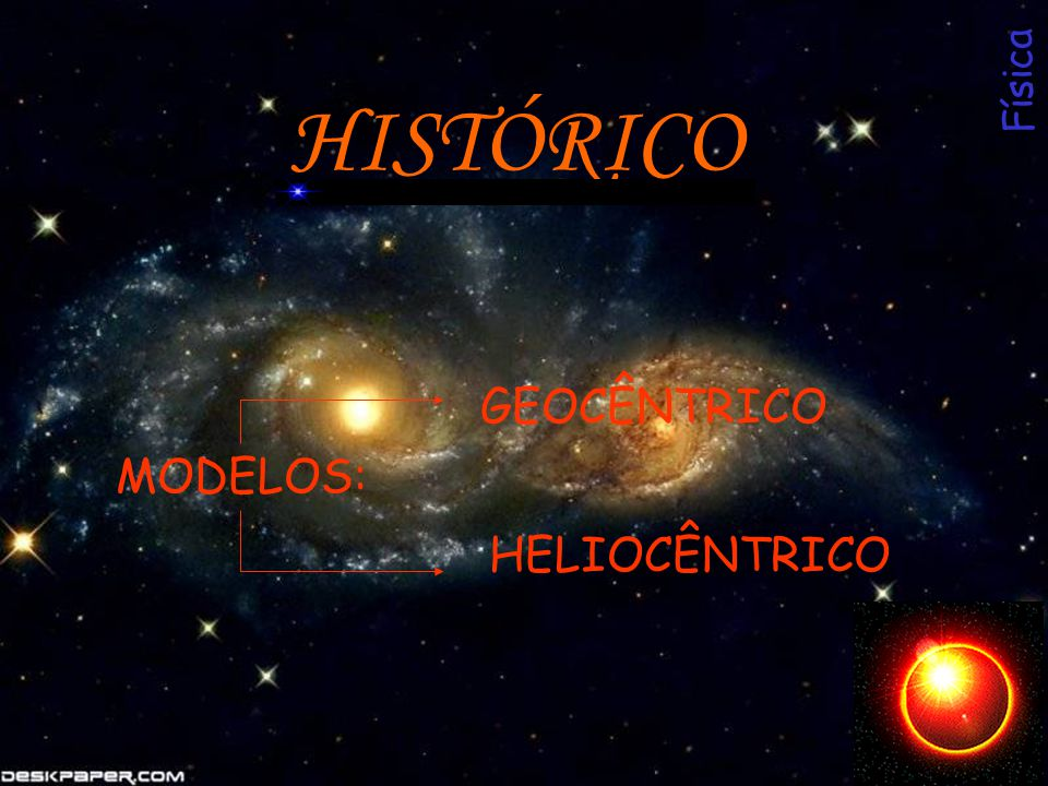 Física HISTÓRICO GEOCÊNTRICO MODELOS: HELIOCÊNTRICO