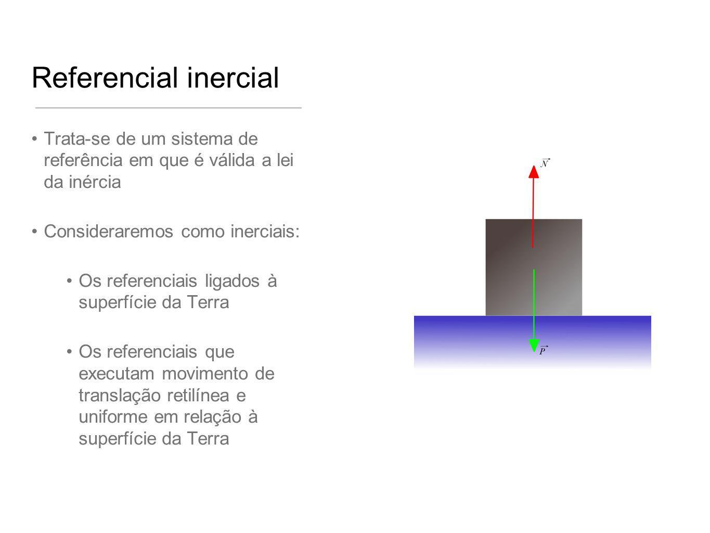 Referencial inercial Trata-se de um sistema de referência em que é válida a lei da inércia. Consideraremos como inerciais:
