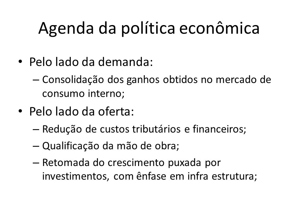 Agenda da política econômica