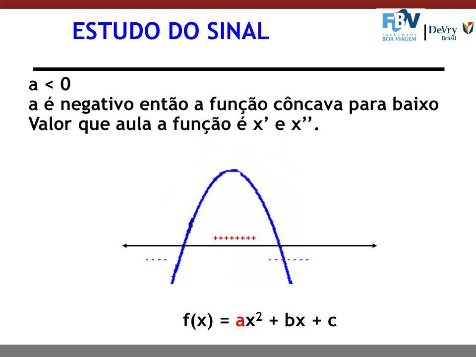ESTUDO DO SINAL a < 0. a é negativo então a função côncava para baixo. Valor que aula a função é x' e x''.