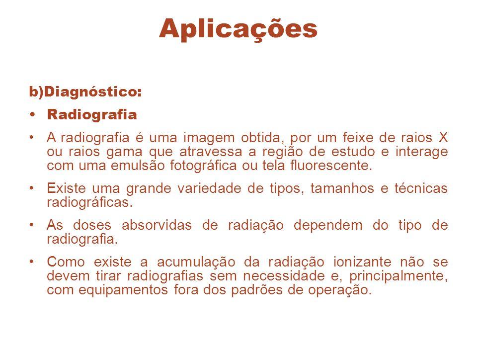 Aplicações b)Diagnóstico: Radiografia