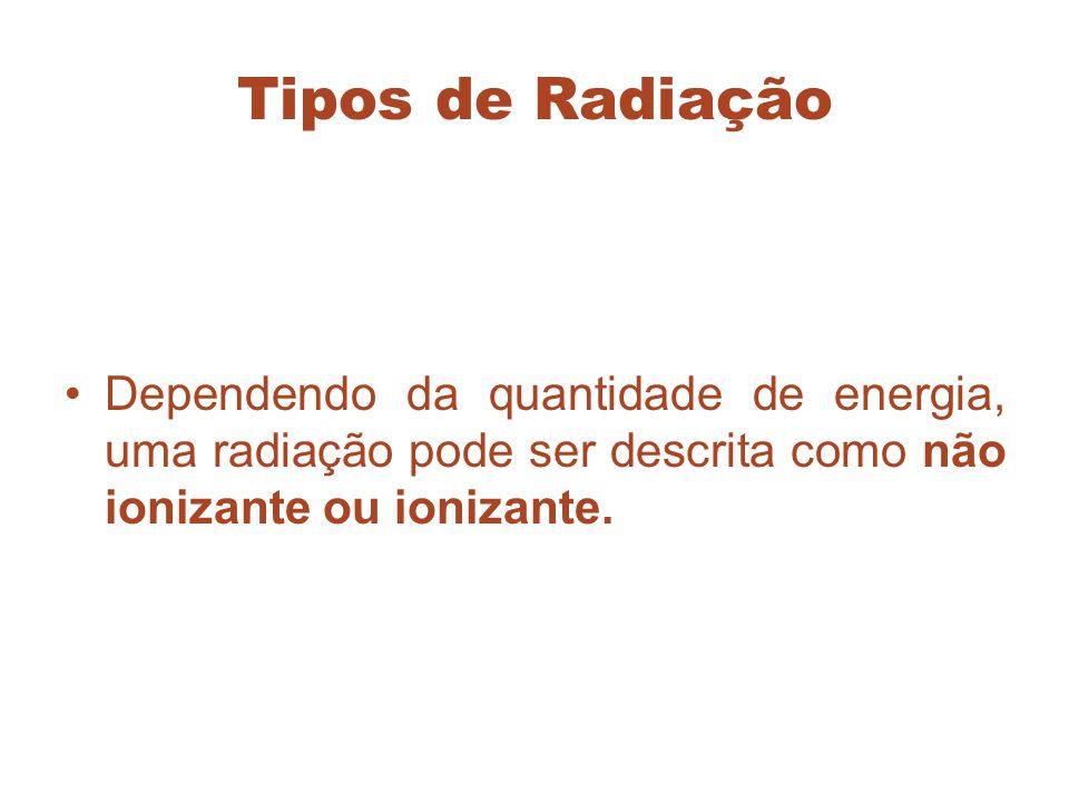 Tipos de Radiação Dependendo da quantidade de energia, uma radiação pode ser descrita como não ionizante ou ionizante.