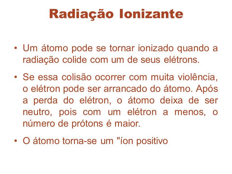 Radiação Ionizante Um átomo pode se tornar ionizado quando a radiação colide com um de seus elétrons.