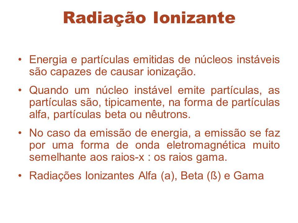 Radiação Ionizante Energia e partículas emitidas de núcleos instáveis são capazes de causar ionização.