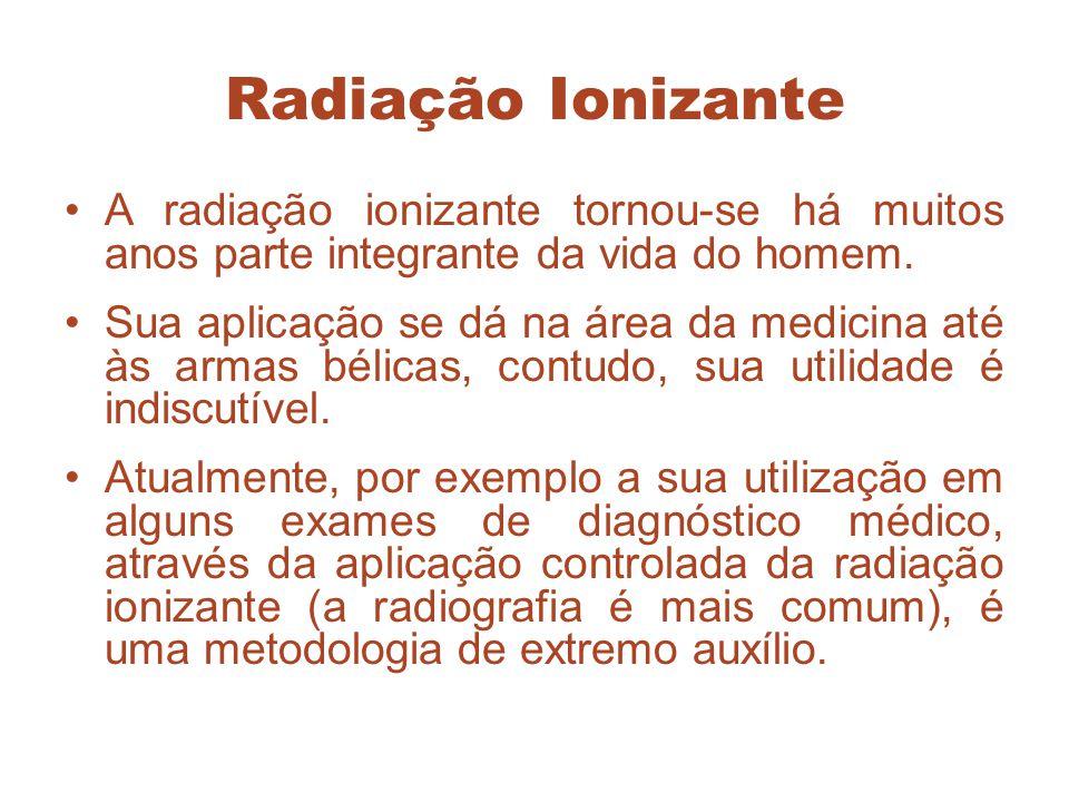 Radiação Ionizante A radiação ionizante tornou-se há muitos anos parte integrante da vida do homem.