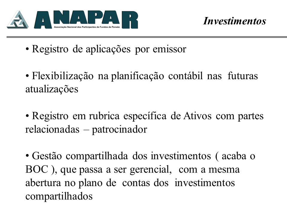Investimentos Registro de aplicações por emissor. Flexibilização na planificação contábil nas futuras atualizações.