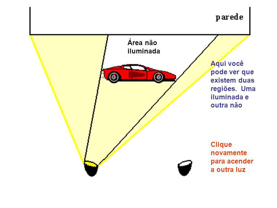 Área não iluminada. Aqui você. pode ver que. existem duas. regiões. Uma. iluminada e. outra não.