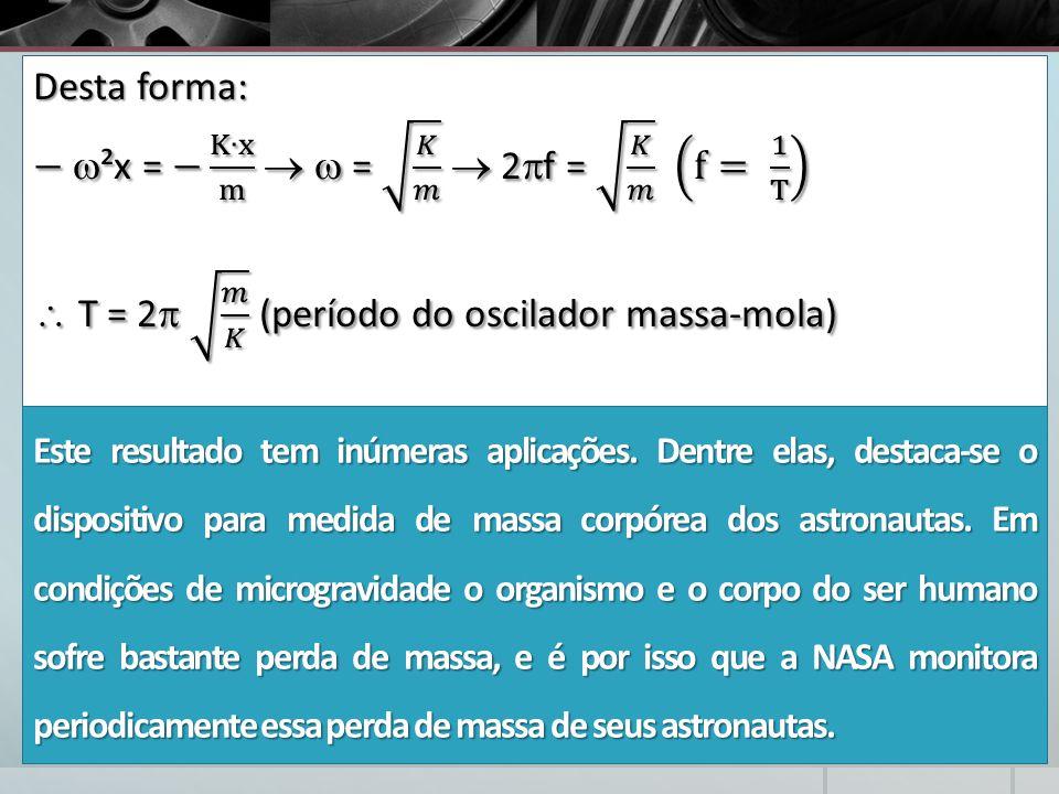 − ²x = − K∙x m   = 𝐾 𝑚  2f = 𝐾 𝑚 f= 1 T
