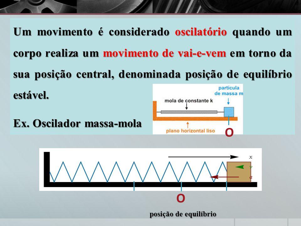 Um movimento é considerado oscilatório quando um corpo realiza um movimento de vai-e-vem em torno da sua posição central, denominada posição de equilíbrio estável.