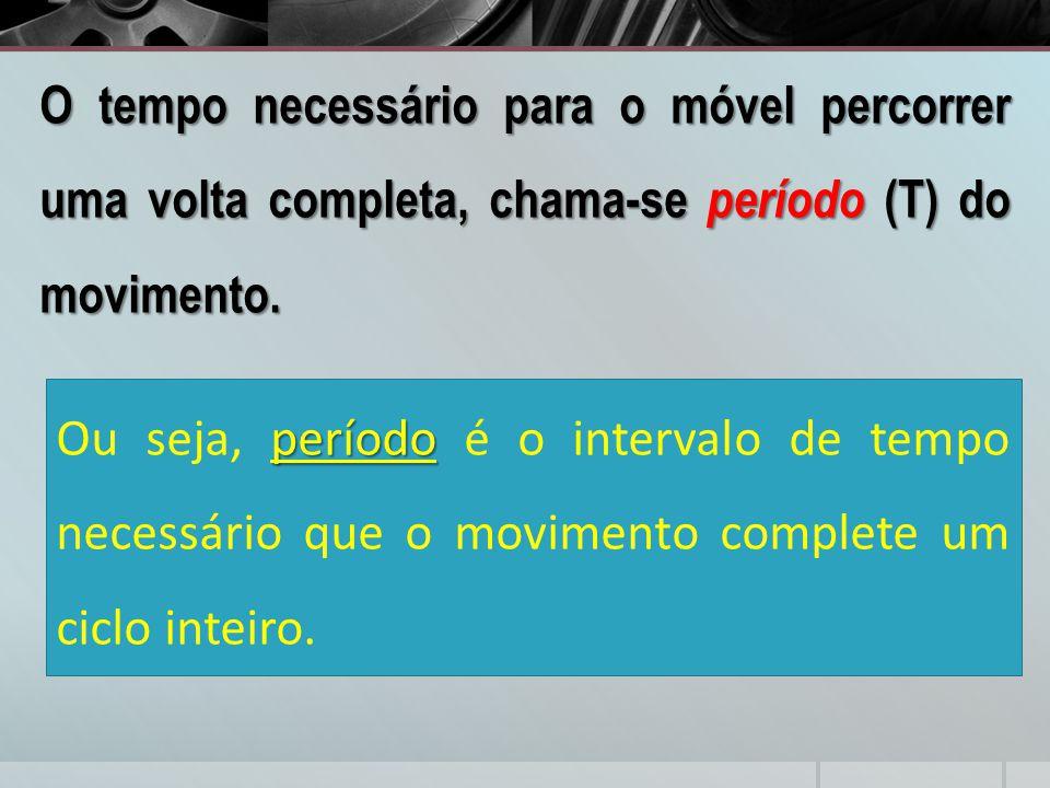 O tempo necessário para o móvel percorrer uma volta completa, chama-se período (T) do movimento.