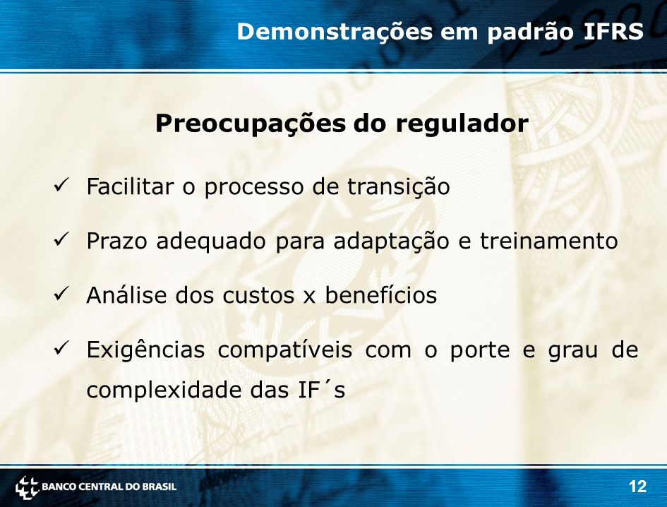 Preocupações do regulador