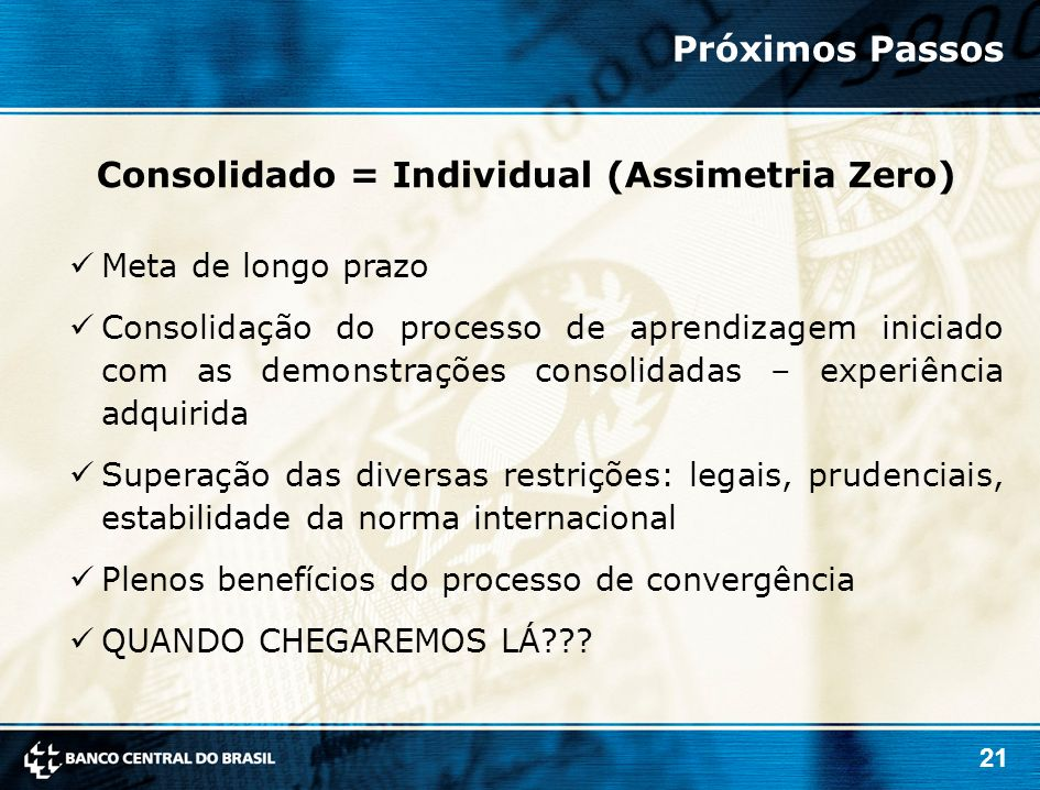 Consolidado = Individual (Assimetria Zero)