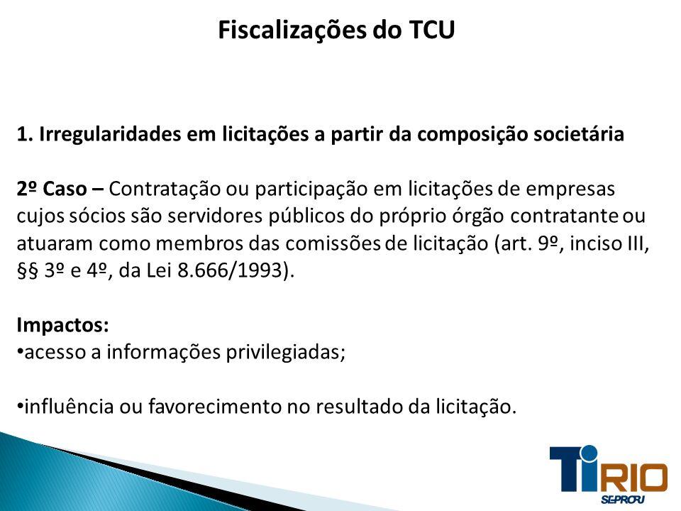 Fiscalizações do TCU 1. Irregularidades em licitações a partir da composição societária.