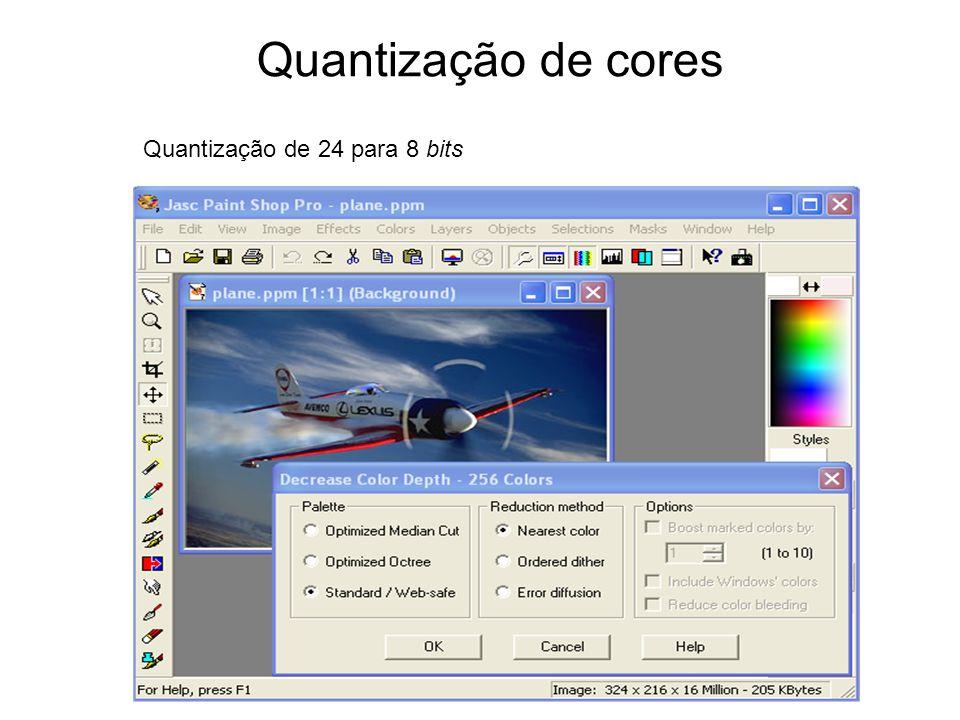 Quantização de cores Quantização de 24 para 8 bits