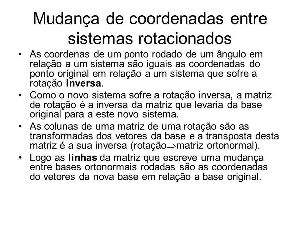 Mudança de coordenadas entre sistemas rotacionados