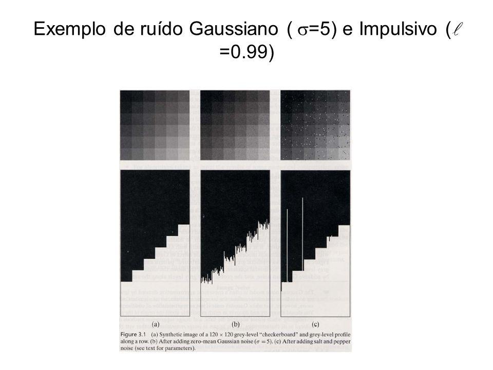 Exemplo de ruído Gaussiano (=5) e Impulsivo ( =0.99)