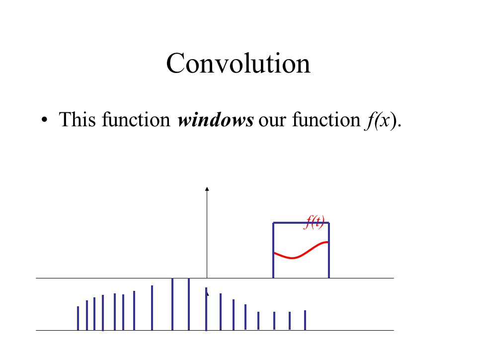 Convolution This function windows our function f(x). f(t)