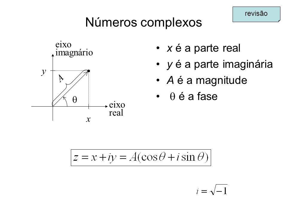 Números complexos x é a parte real y é a parte imaginária