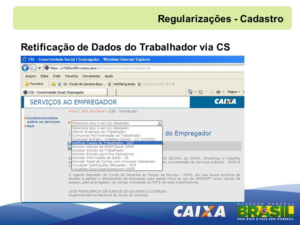 Regularizações - Cadastro