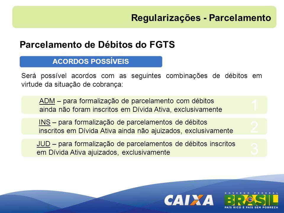 1 2 3 Regularizações - Parcelamento Parcelamento de Débitos do FGTS