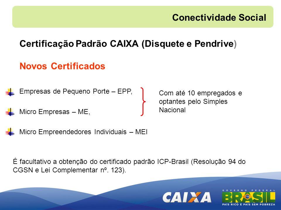 Certificação Padrão CAIXA (Disquete e Pendrive) Novos Certificados