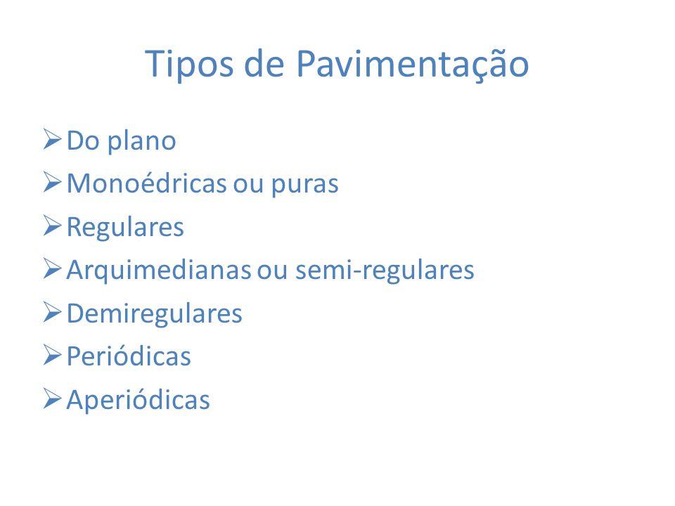 Tipos de Pavimentação Do plano Monoédricas ou puras Regulares