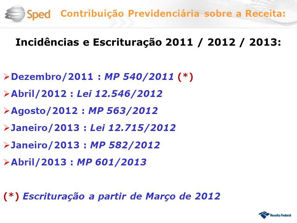 Incidências e Escrituração 2011 / 2012 / 2013: