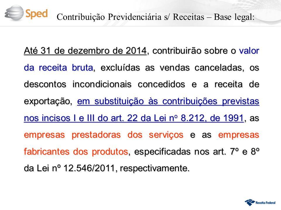 Contribuição Previdenciária s/ Receitas – Base legal: