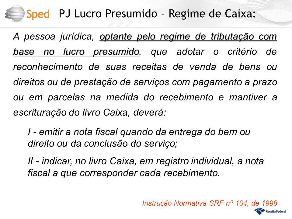 PJ Lucro Presumido – Regime de Caixa: