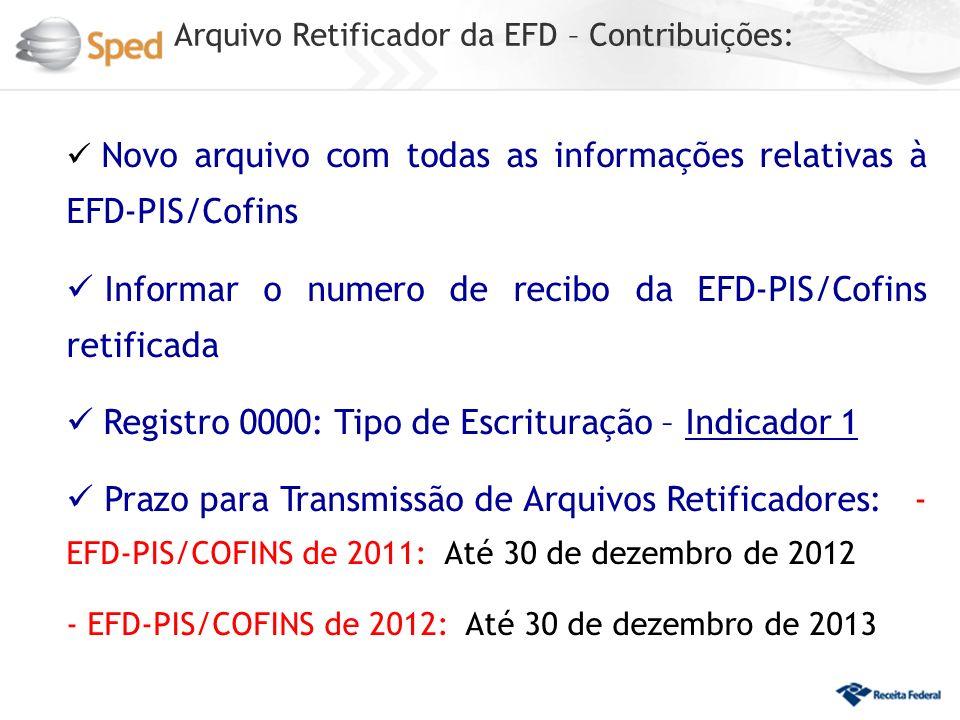 Informar o numero de recibo da EFD-PIS/Cofins retificada