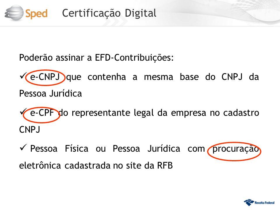 Certificação Digital Poderão assinar a EFD-Contribuições: