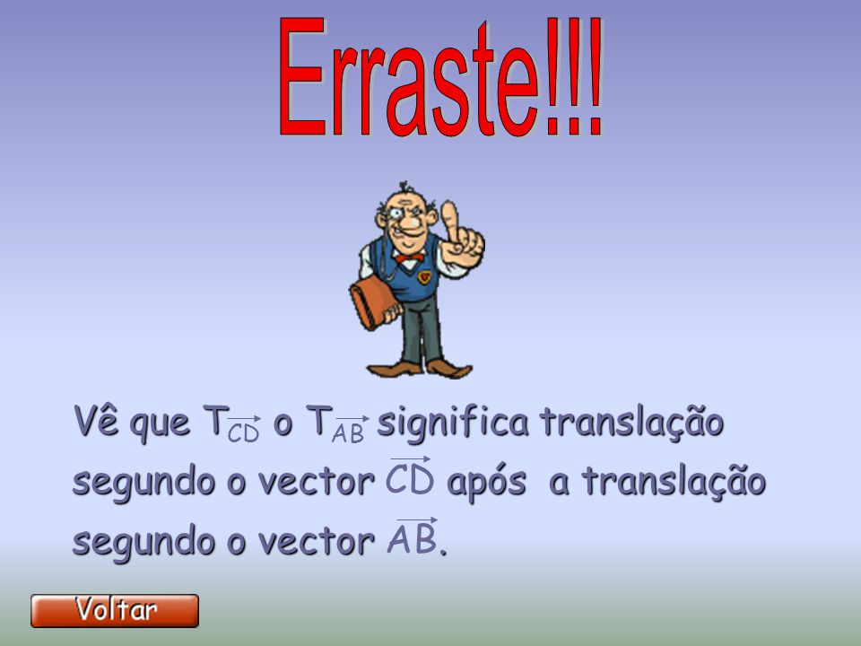 Vê que TCD o TAB significa translação segundo o vector CD após a translação segundo o vector AB.