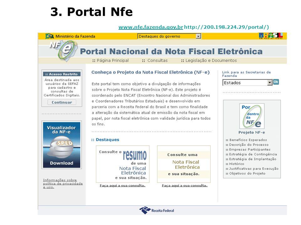 3. Portal Nfe www.nfe.fazenda.gov.br http://200.198.224.29/portal/)
