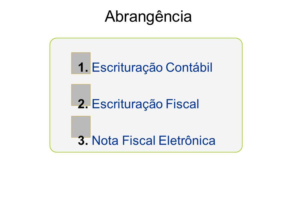 Abrangência 1. Escrituração Contábil 2. Escrituração Fiscal