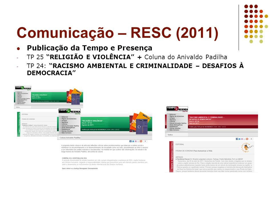 Comunicação – RESC (2011) Publicação da Tempo e Presença