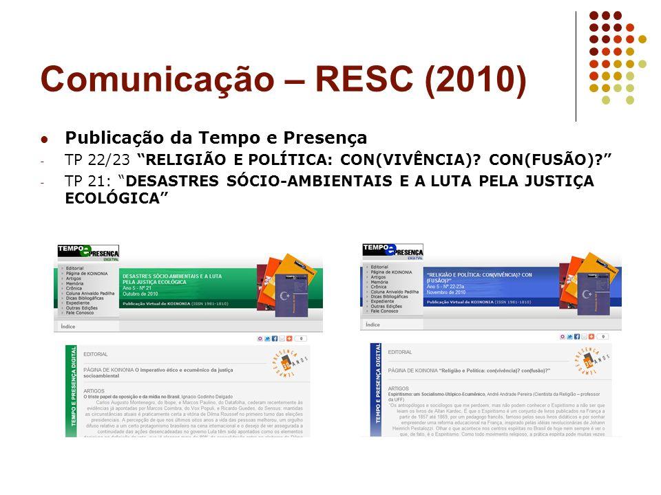 Comunicação – RESC (2010) Publicação da Tempo e Presença