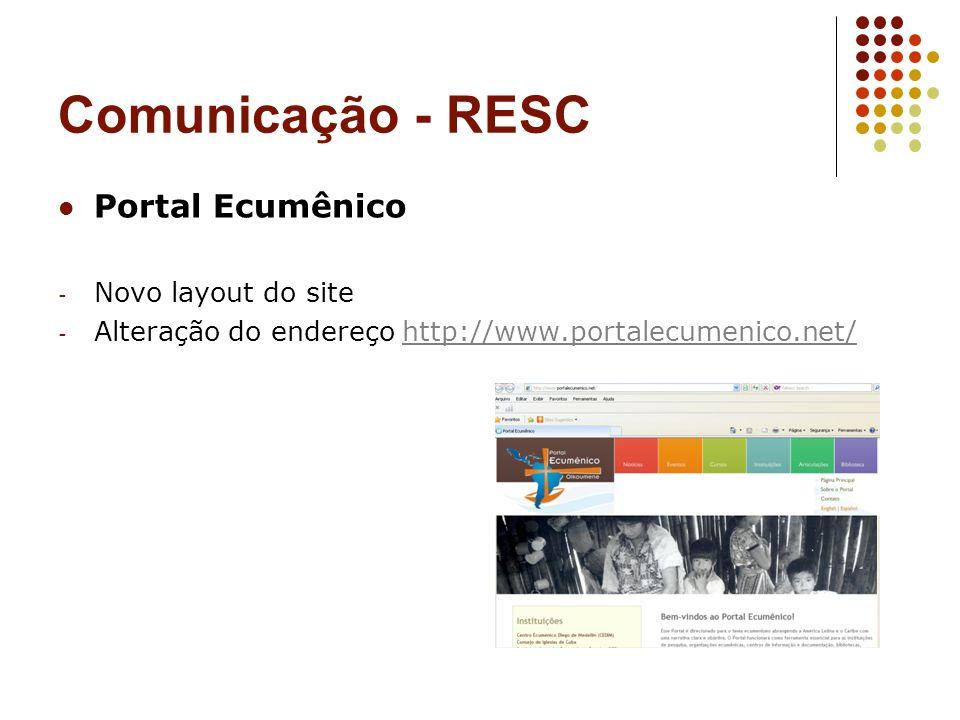 Comunicação - RESC Portal Ecumênico Novo layout do site